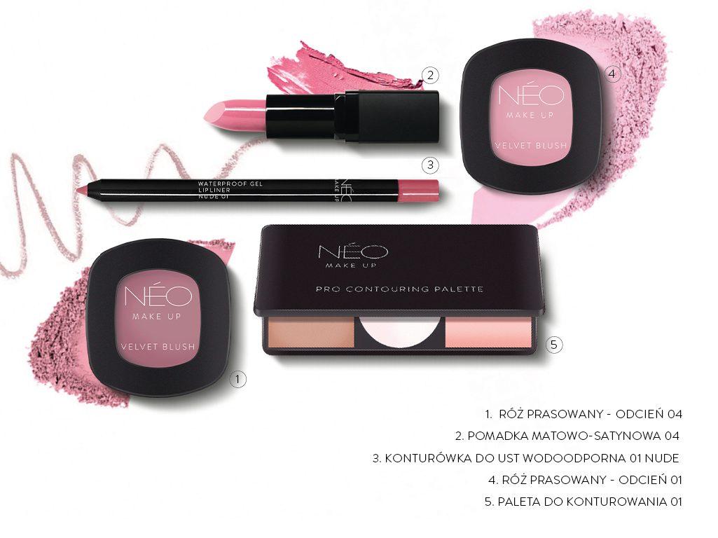 Produkty NEO Make Up potrzebne do wykonania modnego makijażu Rose Glam